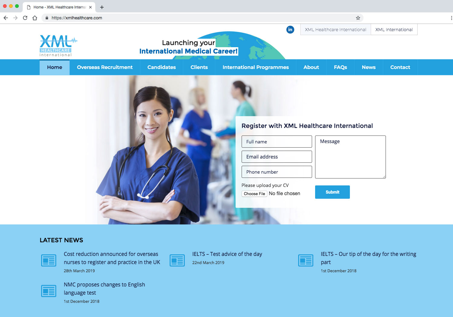 XML Healthcare home page