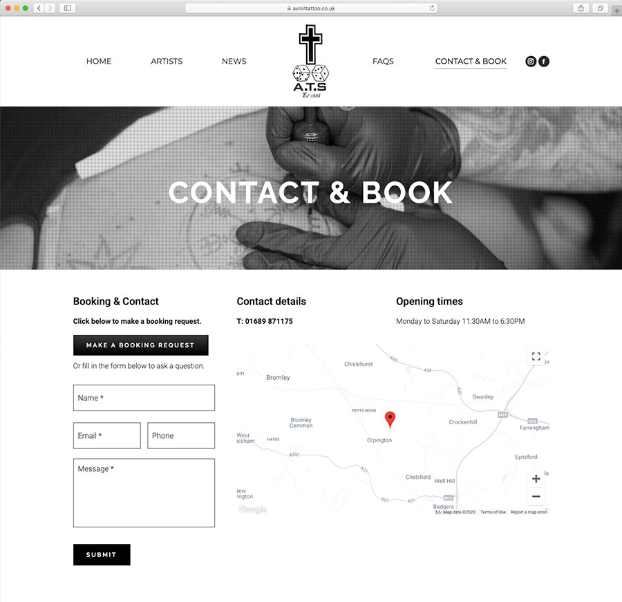 Avinit Tattoo Website Contact Page