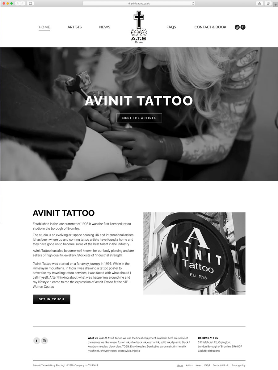 Avinit Tattoo Studio Website Home Page