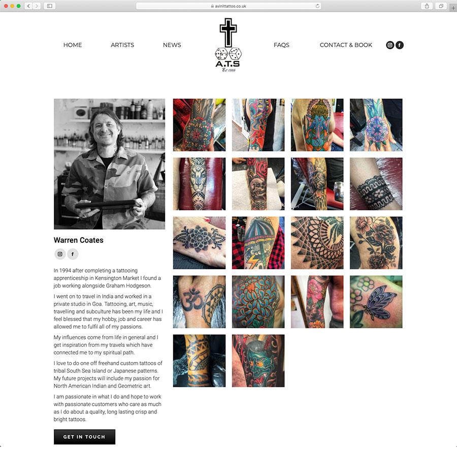 Avinit Tattoo Studio Owner Warren Coates Profile Page